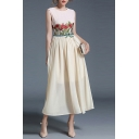 Fashion Floral Embroidered Round Neck Sleeveless Summer's Chiffon Maxi Dress