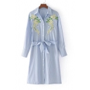 Fashion Single Breasted Embroidery Floral Striped Belt Waist Midi Shirt Dress