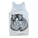 Cartoon Panda Pattern Round Neck Sleeveless Casual Leisure Sports Tank Tee