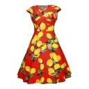 Vintage Summer's V Neck Sleeveless Lemon Printed Midi Flared Dress