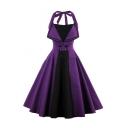 New Arrival Halter Neck Sleeveless Chic Color Block Midi Flared Dress