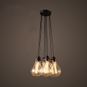 Industrial Cluster Multi-Light Pendant in Exposed Edison Bulb Style, 7 Lights