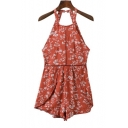 Summer's Fresh Floral Printed Halter Neck Sexy Open Back Casual Rompers