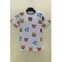 Lovely 3D Cartoon Emoji Printed Round Neck Short Sleeve Unisex T-Shirt