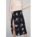 Fashion Split Side Elastic Waist Floral Printed Midi Skirt