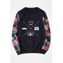 Casual Loose Round Neck Long Sleeve Floral Printed Unisex Pullover Sweatshirt