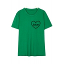 Comfort Cotton Round Neck Short Sleeve Letter Sweet Heart Pattern T-Shirt