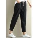 Basic Simple Plain Loose Elastic Drawstring Waist Leisure Tapered Pants