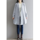 Simple Plain Long Sleeve Notched Lapel Collar Linen Blazer Coat
