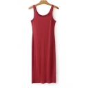Basic Plain Scoop Neck Sleeveless Bodycon Midi Tank Dress