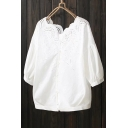 Chic Hollow Out Crochet Boat Neck Half Sleeve Buttons Down Plain Shirt