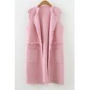 Fashion Fringe Hem Open Front Sleeveless Plain Cardigan Vest with Double Pockets