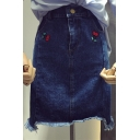 New Arrival Cherry Embroidered High Waist Raw Edge Mini Denim Pencil Skirt