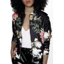 New Trendy Fashion Floral Printed Long Sleeve Zip Up Jacket