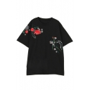 Fashion Floral Embroidered Short Sleeve Round Neck Loose T-Shirt