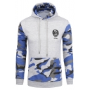 New Fashion Camouflage Printed Color Block Long Sleeve Unisex Hoodie