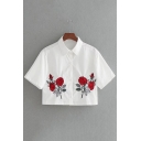 Chic Rose Embroidered Lapel Collar Short Sleeve Buttons Down Cropped Shirt