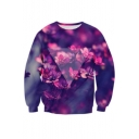 3D Pure Beauty Floral Pattern Round Neck Long Sleeve Casual Sweatshirt