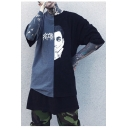 Fashion Color Block Character Printed Street Style Round Neck Oversize Unisex T-Shirt