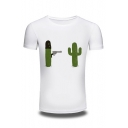 Funny Cartoon Cactus Pattern Cotton Comfort Round Neck Short Sleeve T-Shirt