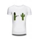 Funny Cartoon Cactus Pattern Cotton Comfort Round Neck Short Sleeve T-Shirt