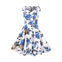 New Fashion Vintage Floral Pattern V Neck Sleeveless Midi Flared Dress