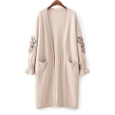 Chic Floral Embroidered Long Sleeve Flared Cuff Open Front Longline Cardigan