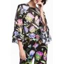Fashion Floral Printed 3/4 Length Sleeve Chiffon Blouse