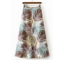 Summer's Beach Foliage Printed Zip Back Maxi Holiday A-Line Skirt