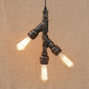 Industrial Loft Chandelier in Rust Vintage Style, 3 Lights 12'' Height