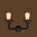 Industrial Nautical Wire Cage Wall Sconce in Black Finish, 2 Lights