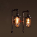 Industrial Nautical Wire Cage Wall Sconce in Rust Finish with Valve Accent, 2 Lights