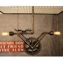 Industrial Gear Multi-Light Pendant in Bronze Finish with 2 Bare Edison Bulbs