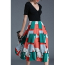 Fashion Color Block Geometric Printed V Neck Short Sleeve Midi A-Line Dress