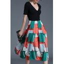 Fashion Color Block Geometric Printed V Neck Short Sleeve Midi A-Line Dress