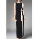 New Trendy Elegant Color Block Round Neck Sleeveless Split Maxi Pencil Dress