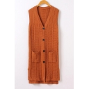 Fresh V-Neck Sleeveless Single Breasted Plain Tunic Cardigan Vest