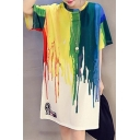Fashion Color Block Printed Short Sleeve Round Neck Mini T-Shirt Dress