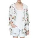 Summer's Floral Pattern Batwing Sleeve Sun Protection Kimono Top