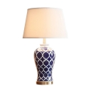 Vase Table Lamp Blue And White Porcelain Drum Shade
