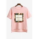 High Low Trim Floral Letter Pattern Round Neck Short Sleeve T-Shirt
