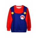 3D Color Block M Letter Printed Long Sleeve Round Neck Pullover Sweatshirt