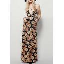 New Arrival Chic Floral Printed Plunge Neck Spaghetti Straps Maxi Slip Dress