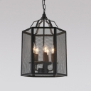 Industrial Pendant Chandelier 5 Light with Bird Mesh Cage in Black