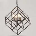 Industrial Candelabra Chandelier with Square Shade in Rust