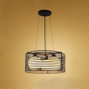 Industrial Multi Pendant Light 3 Light with Nordic Stripe Shade