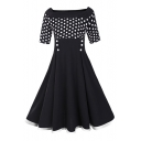 Vintage Polka Dot Printed Boat Neck Half Sleeve Fashion Midi Flared Dress