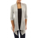 Hot Fashion Simple Plain Open Front Long Sleeve Asymmetrical Hem Fitted Cardigan