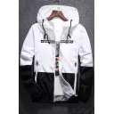 Stylish Color Block Letter Print Oversize Long Sleeve Hooded Zip Up Coat