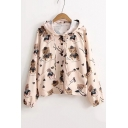 Lovely Bear Printed Long Sleeve Hooded Slim Buttons Down Coat with Pockets